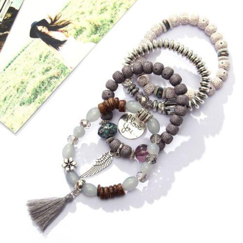 Multicouche bohème pampille Pierre naturelle Perles Bracelet Pendentif Set Bohême Femmes