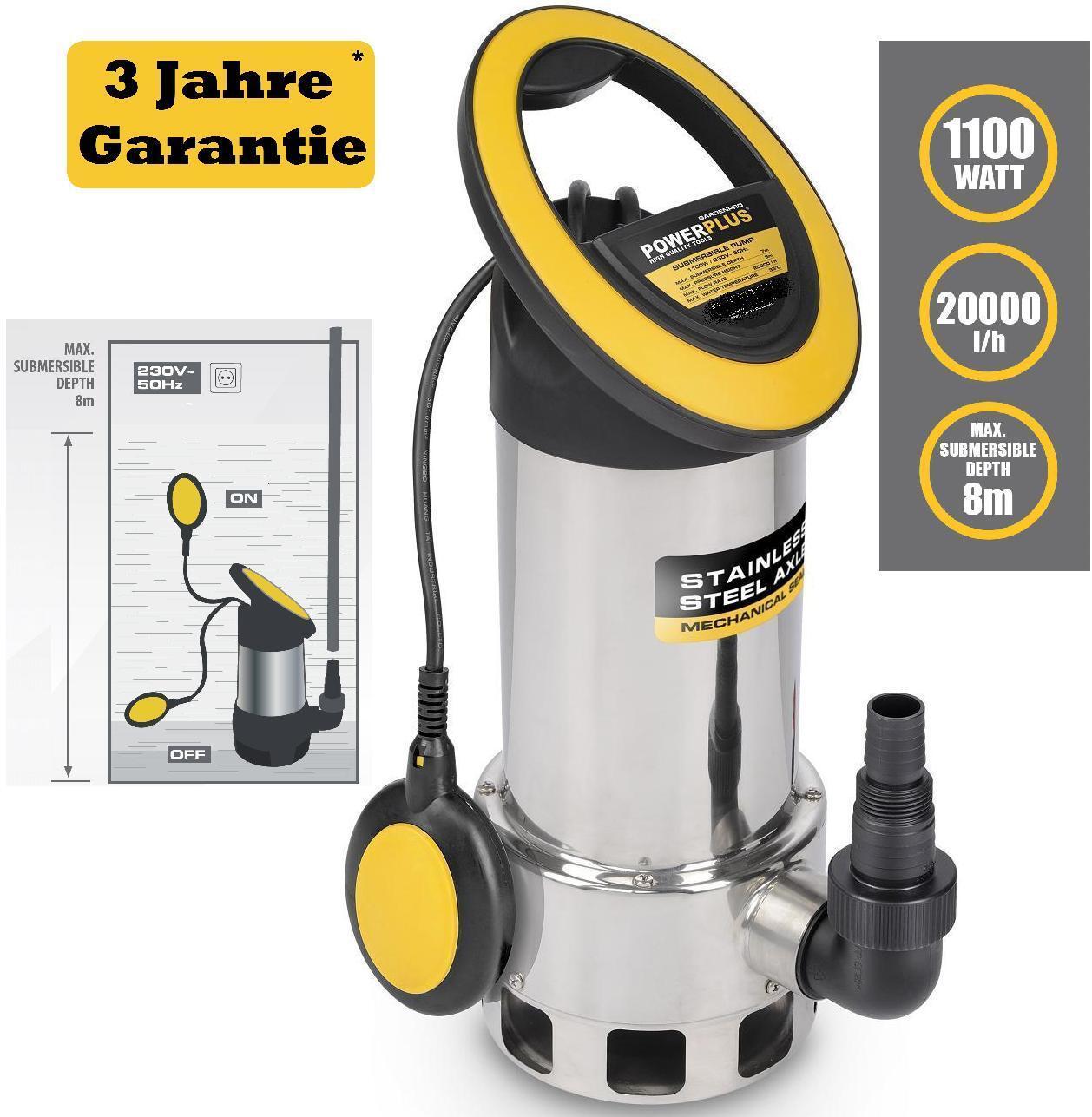 Professionale Pompa Pompa per Fontane Pompa ad Acqua Edelstahlpumpe 1100 W Pompa