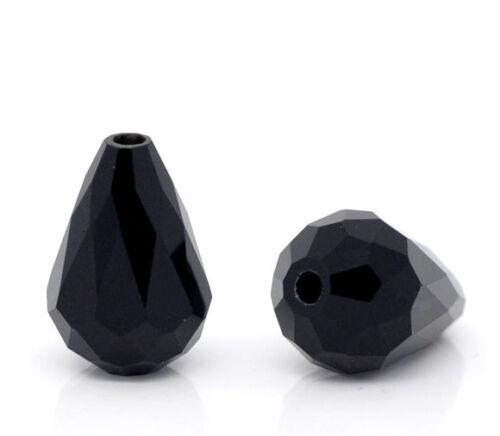 New 50 Schwarz Oval  Facettiert Glasperlen Beads Tropfen 11x8mm
