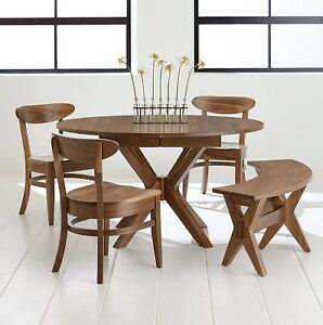 Details about Amish Mid-Century Dining Set 5-Pc.Vadsco Modern Oval Table  Bench Solid Wood