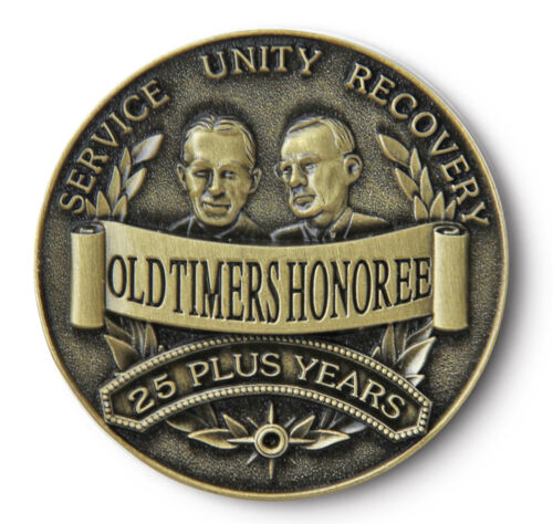 YRS AA 12 Step Recovery Program Bronze Coin //Token//Chip OLD TIMER HONOREE 25