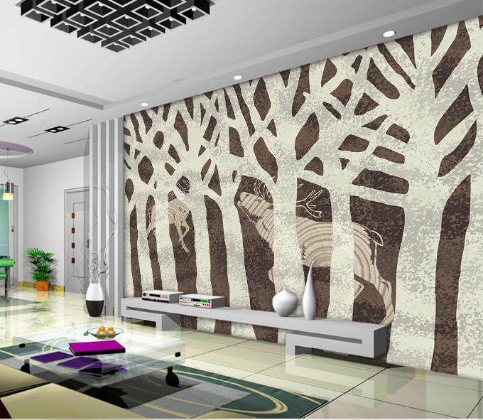 3D Weiß Branches Deer 2 Paper Wall Print Wall Decal Wall Deco Indoor Murals