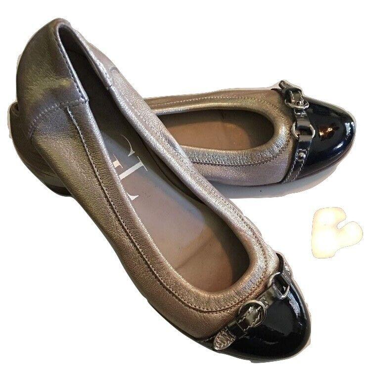 AGL BLAKELY Cap Toe Ballet Flats Shoes, Leather Sz 36.5 US 6.5