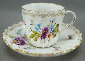 Dresden Hand Painted Floral & Gold Fluted Demitasse Cup & Saucer AS IS