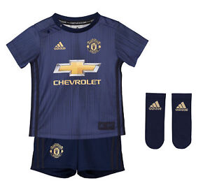 super popular 1ab0e 5b8a9 Details about Official Manchester United Third Baby Kit 2018/19 Football  Shirt Shorts Jersey