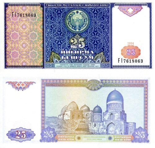 UZBEKISTAN 25 Som Banknote World Paper Money UNC Currency Pick p77 Bill Note