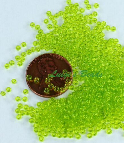 11//0 Round TOHO Japanese Glass Seed Beads #4-Transparent Lime Green 10g