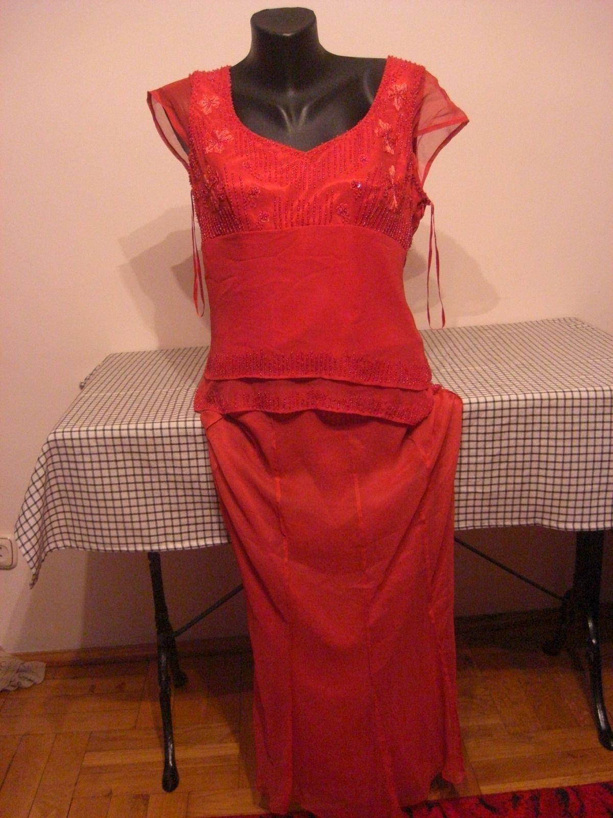 vera mont 100% silk (seide) / womens red cocktail dress