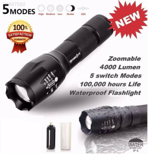 T6 LED Zoomable Flashlight Outdoor 5 Modes Torch Super Bright Diving Torch