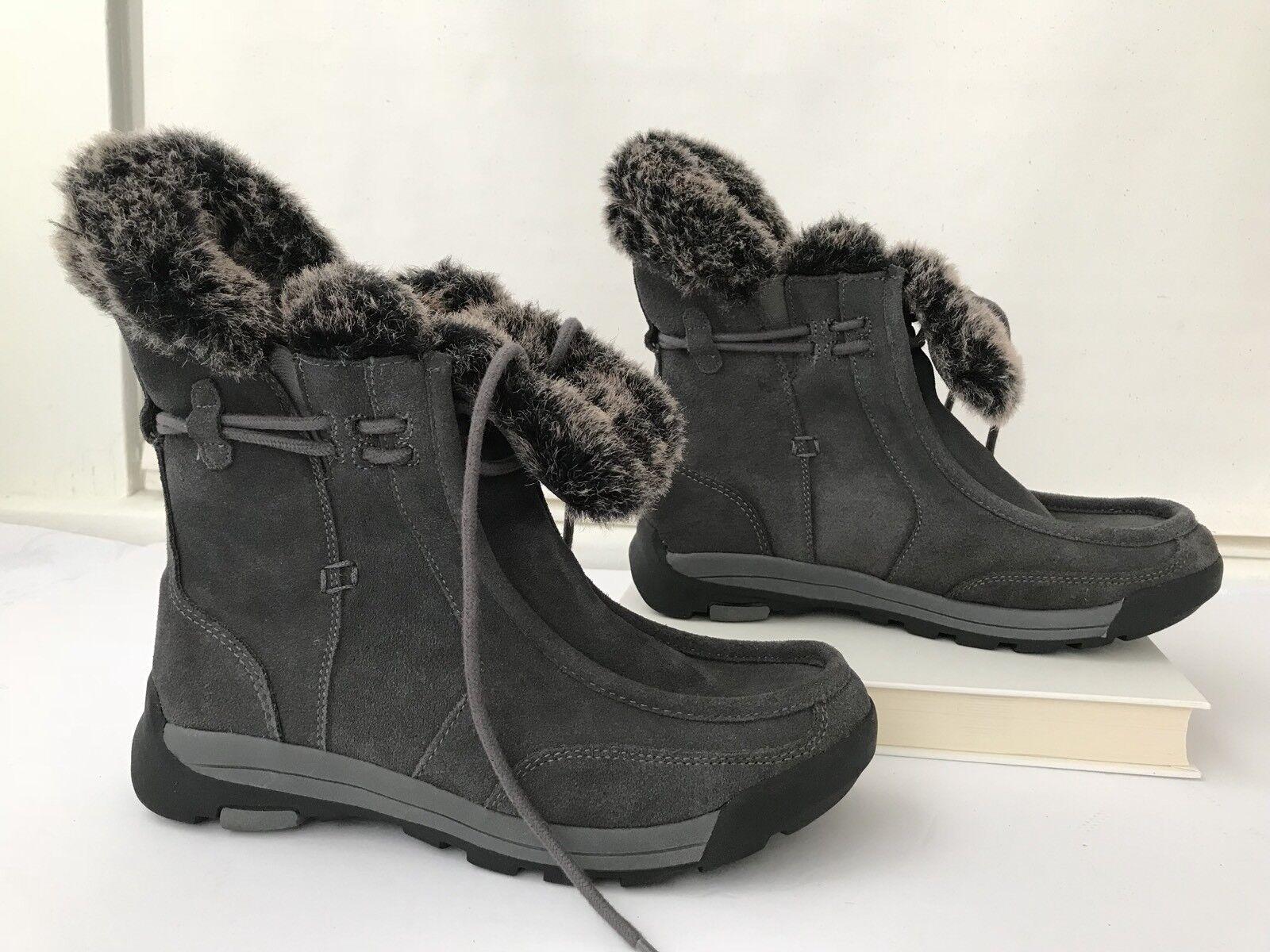 Women's Land's End 7 B Belle Winter Boots Booties Plush Faux Fur Gray Suede Lace