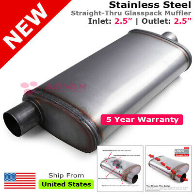 Stainless Steel Straight-Thru Race Muffler 2.5 inches Offset In//Out 199830