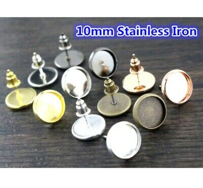 50pcs 10mm~25mm Cabochon Setting Base Tray for DIY Necklace Earring Making