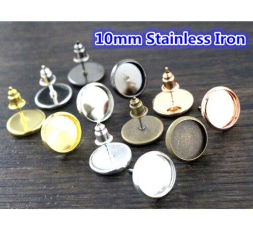 50pcs 10mm Post Earrings Studs Base Setting Cabochon Earrings Blank Trays DIY