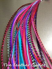 Lot 40 Grizzly Solid Feathers Hair Extensions Red Purple Turquoise Pink RPTP