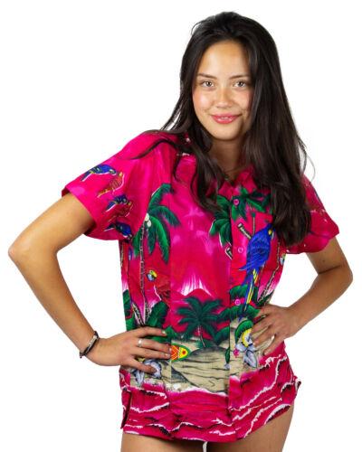 Funky Hawaiibluse Parrot Pink verschiedene Größen Hawaiishirt Unisex