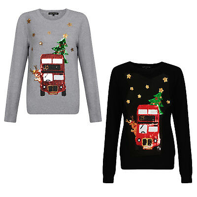 Heart And Soul Womens Sparkly Festive Bus Christmas Jumper Ladies Sequin Top Modern Und Elegant In Mode