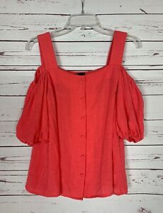 Lumiere-Boutique-Women-039-s-S-Small-Coral-Cold-Shoulder-Cute-Fall-Top-Blouse-Shirt