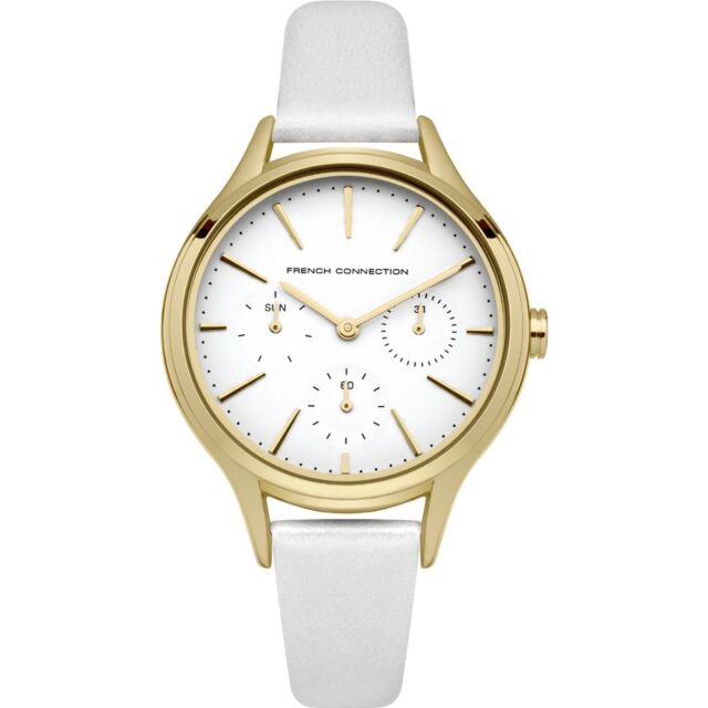 2e85bd88c5a French Connection Daisy Grand FC1273WG Women's Watch With White Leather  Strap