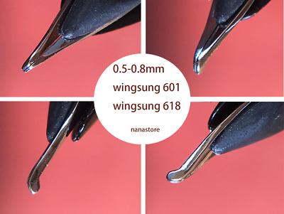 4pcs fountain pen nibs 0.6-1.2mm bent nib for wing sung 618 wing sung 601 pen