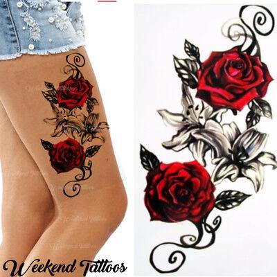 Red Roses Flower Temporary Tattoos Stickers Body Art 3d Rose Tatoo Waterproof Uk Ebay
