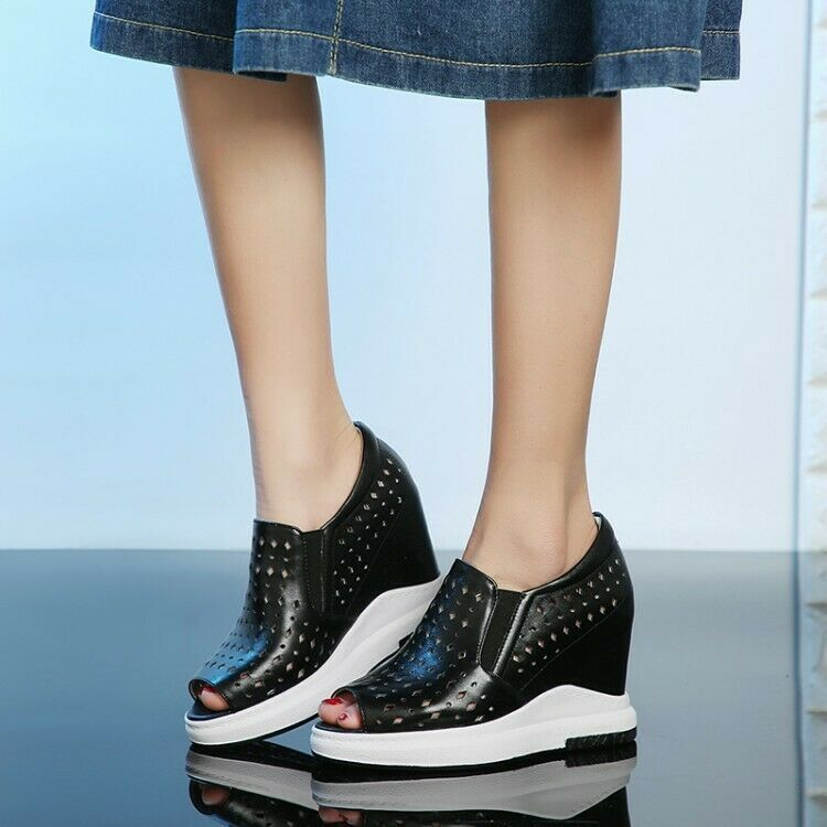 Women's Hollow Out Wedge Hidden Heels Peep Toe  Leather Fashion Sneakers shoes