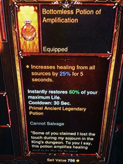Diablo 3 Primal Ancient Legendary Potions Genuine Set Xbox 1 Patch