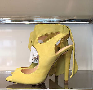 ZARA-LEATHER-HIGH-HEELED-SANDALS-WITH-BOW-YELLOW-36-41-Ref-1531-001