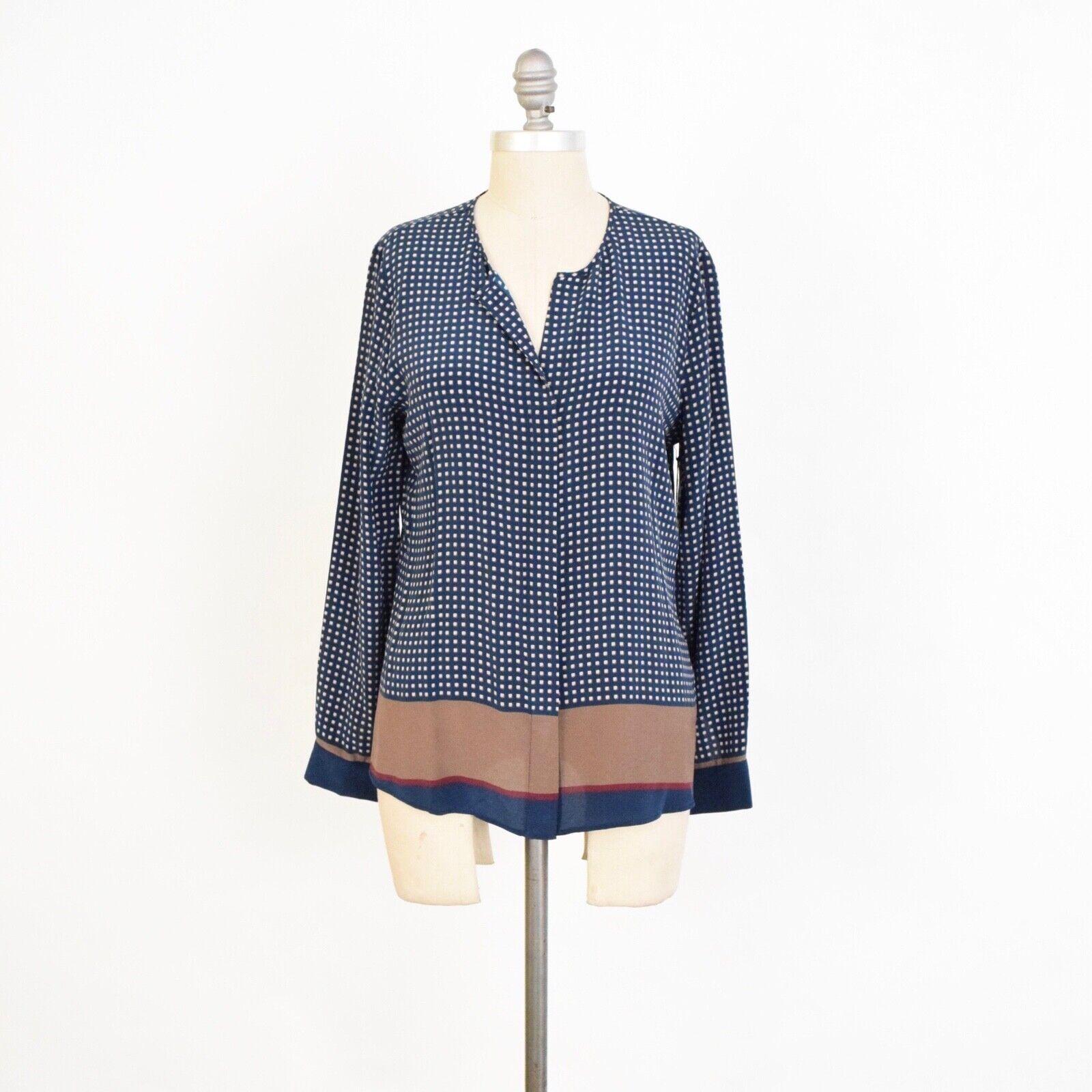 Ecru Blouse S Teal bluee Foulard Print Silk Long Sleeve Button Down NWT