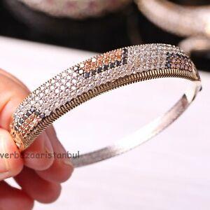 Turkish-Handmade-Jewelry-Sterling-Silver-925-White-Citrine-Bracelet-Bangle-Cuff