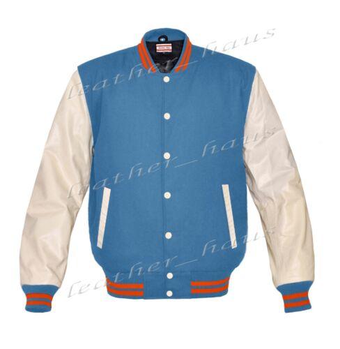 Genuine Leather Sleeve Letterman College Varsity Women Wool Jackets #CRS-OSTR-CB