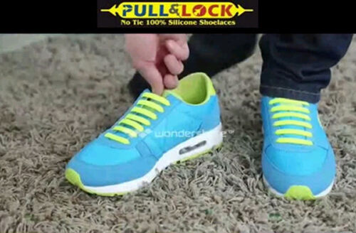 Yellow No tie shoe laces anchor no tying pull lock silicon one size fit all type
