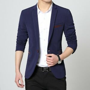 Mens slim fit blazer suit coat jacket + Slim Tie + Pocket Square + Hanger+ Cover
