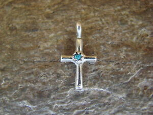 Navajo-Jewelry-Sterling-Silver-Turquoise-Cross-Charm-Pendant-by-Sylvia-Chee