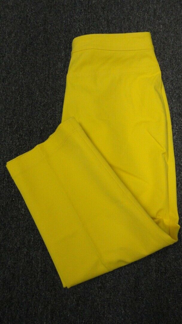 ST. JOHN Chrome Gelb Cotton Straight Leg Casual Crop Pant NWT Sz 10 GG4724