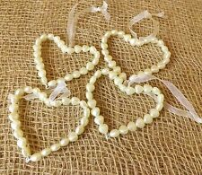 Set of 4 Pearl Style Ivory Hanging Love Hearts on Ribbon Wedding Home Valentine