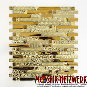 Mosaico-piastrella-mosaico-in-vetro-vetro-oro-muro-piastrelle-SPECCHIO-BOX-DOCCIA-BAGNO-86-0107-b