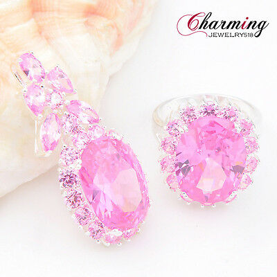 2 Pcs 1 Lot Natural Sweet Pink Topaz Gemstone Silver Pendant Ring Jewelry Set