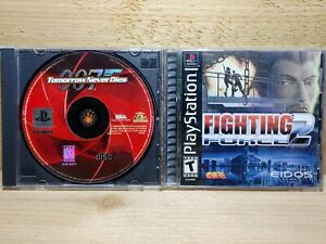 PS1 Video Game Lot Fighting Force 2 Complete & 007 Tomorrow Never Dies Tested