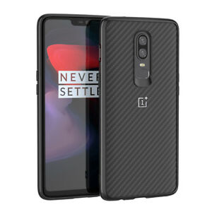 For OnePlus 6 1+6 Carbon Fiber Matte PC+TPU Hybrid Case Back Cover Protective