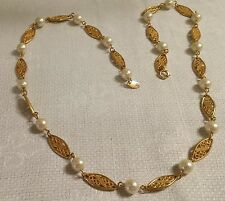 "Vintage Avon Textured Goldtone Metal Oval Filagree Link Faux Pearl 23"" Necklace"