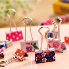20pcs Cute student stationery Printed Office smiley binder paper Metal clips
