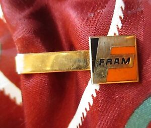 True-Vtg-FRAM-ADVERTISING-Enameled-Tie-Bar-Clip-Tieclip