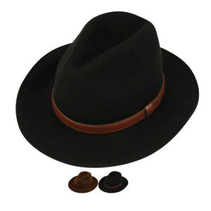 Image is loading Men-039-s-Crushable-Wool-Felt-Outback-Hat- c33a2a43f4b