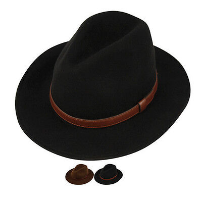 36c9ac178 Men's Crushable Wool Felt Outback Hat / he52 | eBay
