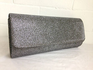 Image Is Loading New Pewter Grey Glitter Evening Clutch Bag Silver