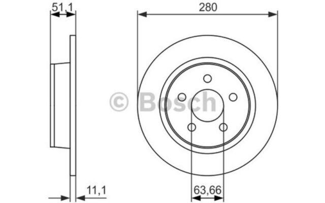 BOSCH Juego de 2 discos freno Trasero 280mm BMW Serie 3 VOLKSWAGEN 0 986 479 762