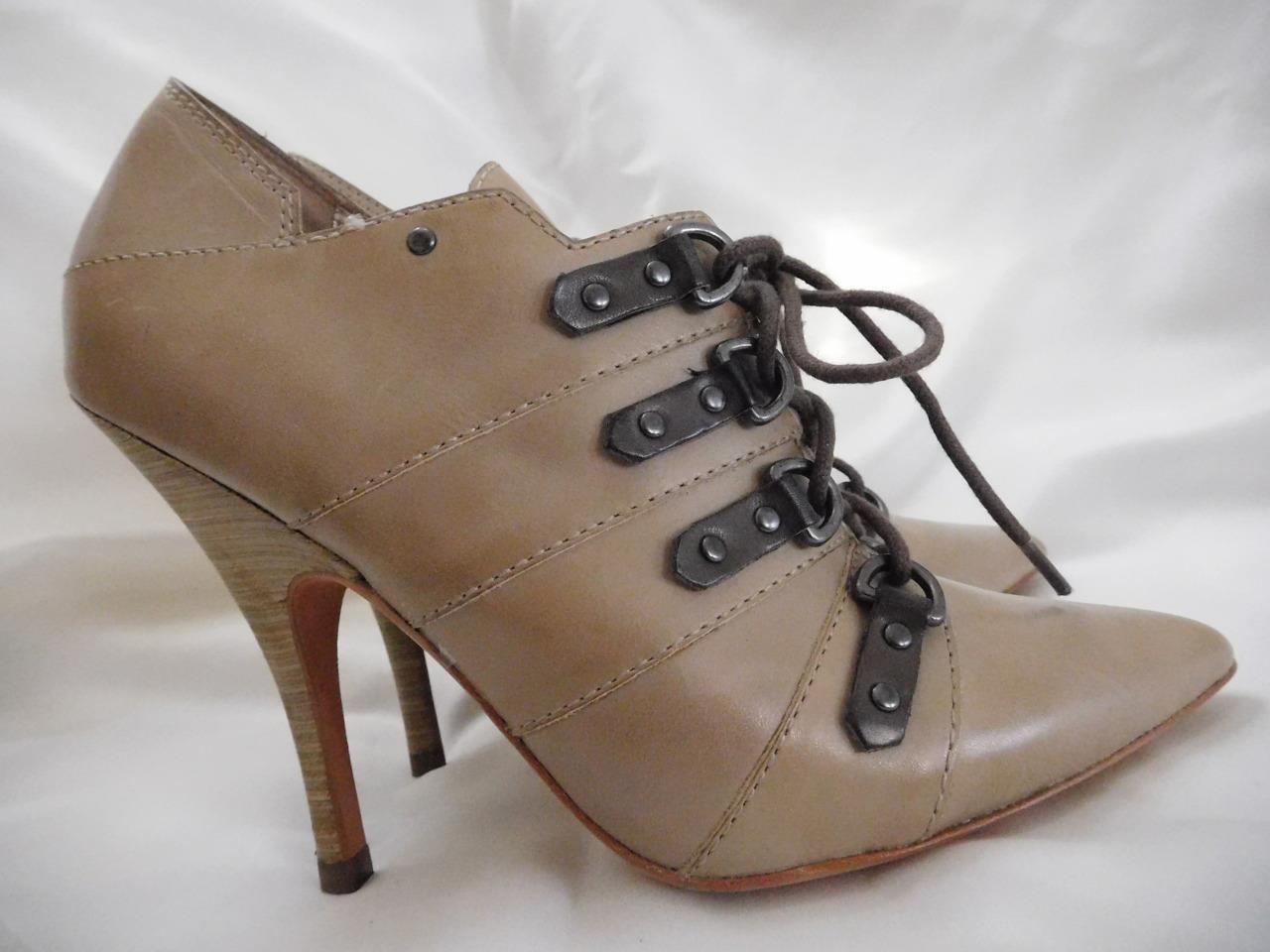 Jean-Michel Cazabat Ida High Heel Lace-Up Booties 37.5 NWOB