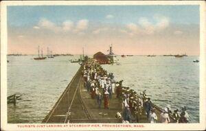 Provincetown-Cape-Cod-MA-Tourists-at-Steamship-Pier-c1920-Postcard