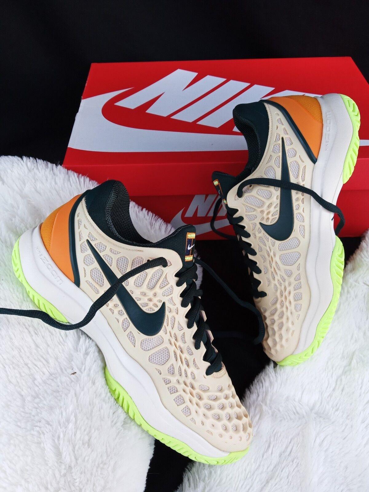 8 women's Nike Air Zoom Cage 3 HC Tennis beige Green 918199-800 white yellow