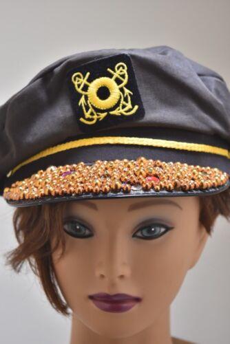 Vintage Mariner Captain Cap Lisa & Lesley rhinesto